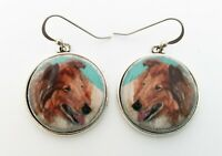 Collie Dog Original Art Earrings