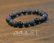 Bracelet gemstone AMULET Onyx Lava rock BLACK JACK Made in NY