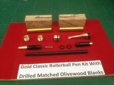 Classic Fountain Pen Kit in Gold with Matched Olive Blanks and Bush Set