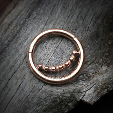 Accent Clicker Hoop Ring Rose Gold Bali Beads