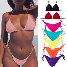 Women's Triangle Bikini Top Push Up Padded Bra Bandage Cheeky Swimwear Beachwear