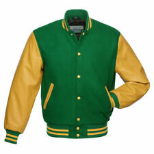 Green Wool Varsity Letterman Bomber Baseball Jacket Gold Yellow Leather Sleeves
