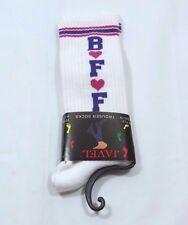 BFF hearts heart Trouser socks White red Purple Womens 9-11 Striped cuff Warm