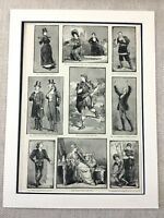 1882 Victorian Actors Actresses Theater Original Antique Print