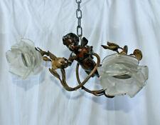 antique French bronze putti angel rose bush pendant lamp chandelier