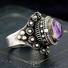 Antique Vintage Deco Sterling Silver Mexican Taxco Amethyst Poison Ring! Sz 7.25