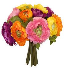 PURPLE PINK ORANGE YELLOW RANUNCULUS ~ Wedding Bouquet Silk Wedding Flowers NEW