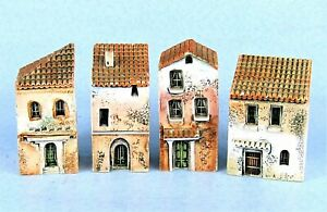 FOUR VINTAGE GAULT PROVENCE MINIATURE HOUSES BUILDING COLLECTIBLES FRANCE