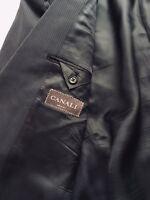 RECENT - CANALI Black Gray w/ White Stripes Men's Blazer Jacket Wool EU 52C-US42