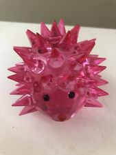 Crystal Glass Hedgehog Figurine Fuchsia Color Suncatcher Paper Weight New,Boxed