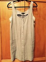Rag & Bone SZ 6 Blue & White Sleeveless Button Down Dress w Eyelet Trim