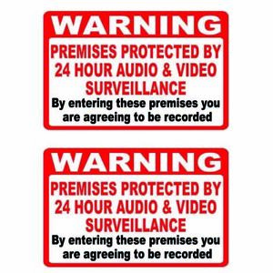 2 x Warning Premises protected by Video and Audio Surveillance CCTV Stickers