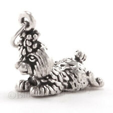 3D TOY POODLE w top knot Sterling Silver Puppy Dog Jewelry Pendant 925 Charm