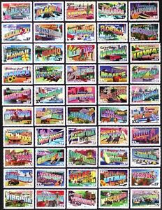 US #3696-3745 37c, 2002 Greetings from America, Complete Set, 50 Singles Mint NH