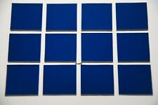 "1246.30 - 12 Transparent Copper Blue 1"" x 1"" Bullseye 3mm Thick Glass 90 Coe"