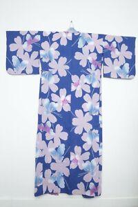 Authentic Traditional vintage Japanese floral yukata hitoe kimono