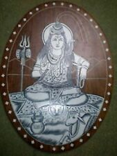 HINDU GOD SHIVA WOOD INLAY RELIGIOUS WALL PICTURE/ HOME DECOR – NEW