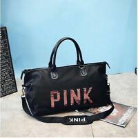2019 Black travel bag pink sequins Shoulder bag woman Handbag sport Portable bag