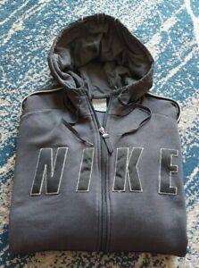 Nike L Grey Full Zip Mens Grey Warm Fleece Hoodie Sweatshirt P2P59cm