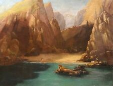 Huge Fine 19th Century Pre-Raphaelite Mermaid Pool Landscape Antique Painting