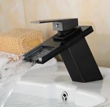 Bathroom Brass Basin Sink Tap Waterfall Spout Nozzle Bathtub Mixer Faucet Black