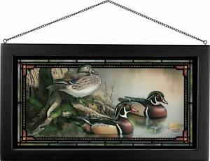 Sam Timm Backwater Wood Ducks Framed Stained Glass Window Panel