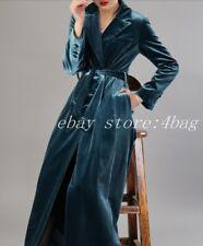 Long Velvet Luxury Wind Breaker Belted Women's Wind Breaker Trench Coat Overcoat
