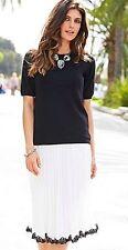 New Ladies Womens Joanna Hope Pleated Lace Trim Skirt Ivory/Black Size UK 26,30