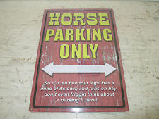 """Funny Horse Parking Only Aluminum Sign 12"""" x 17"""" New Sealed"""