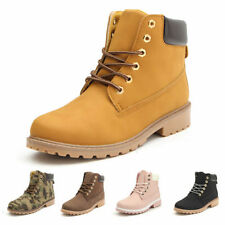 Womens Winter Outdoor Waterproof Leather Work Boots Rubber Combat Snow Shoes