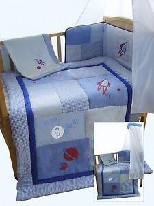 5 pcs Baby Boys Cot/ Cot-Bed Set Blue - Space