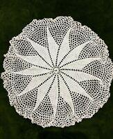 Vintage Crochet Mat Retro Art Deco Geometric White Hand Lace Table Centrepiece