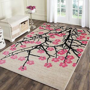 loomBloom Fleur Pink Beige Black Modern & Contemporary Area Rug Multi Sizes
