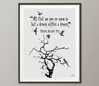 Edgar Allen POE Quote Watercolour Painting Print Wall Decor Art Raven Nevermore