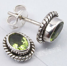 "925 Pure Silver Green Peridot Handmade Studs Earrings 3/8"" Indian Store"