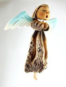 "Singing Angel carved on a Black Poplar and Linden wood Handmade Home Decor 11"""