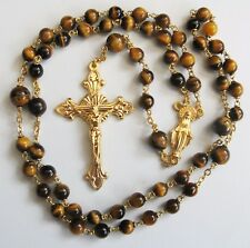 Handmade Tigers Eye and Gold Plate Gemstone Rosary