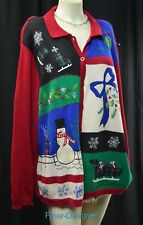 Alfred Dunner Ugly Tacky Christmas Sweater Cardigan L/S multi bead plus 2X VTG