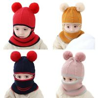 Boys and Girls Hooded Scarf Hat Winter Warm Children's Bib One-Piece Hat P  B9T3