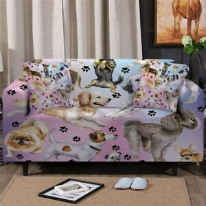 Pink Paw Print Dog Sofa Couch Chair Cushion Stretch Cover Slipcover Set Decor