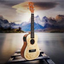 Kmise Concert Ukulele Electric Acoustic 23 inch Uke Solid Spruce Hawaii Guitar