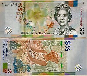 Bahamas 1/2 Dollar 2019 P 76Aa UNC LOT 5 PCS NR