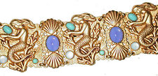 ASKEW LONDON MERMAID BRACELET SHELLS SEAHORSE CHALCEDONY & MOONSTONES 24K GP