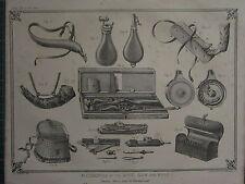 1863 PRINT ~ ACCESSORIES SHOT GUN & RIFLE CARIOUS EQUIPMENT