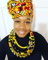 Women African fabric Necklace Ankara fabric Handmade Tribal Statement Necklaces