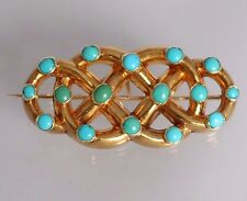 Superb Antique Victorian 18ct Gold & Turquoise Celtic Lover's Knot Brooch
