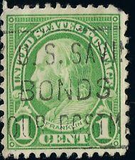 Green Benjamin Franklin 1 Cent US STAMP canceled w/ slogan U.S. SAVINGS BONDS📬