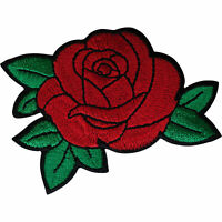 Red Rose Flower Patch Iron Sew On Embroidered Badge Clothes Embroidery Applique