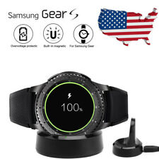 For Samsung Gear S2 S3 Qi Wireless Charging Dock Cradle Charger w/Tempered Glass