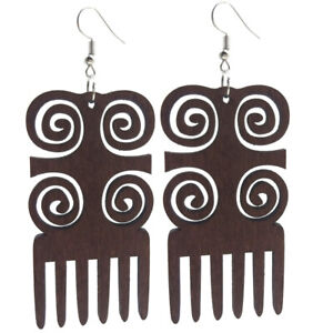 Good Quality Fashion Hollow Africa Woman Wooden Earrings Pendant 3.5*7cm E375
